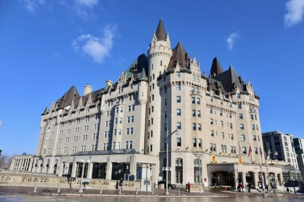 Fairmont Ottawa appears like a stately castle in Canada's capital.