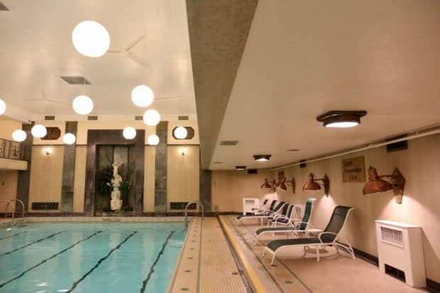 Stunning art deco swimming pool at Fairmont Ottawa.