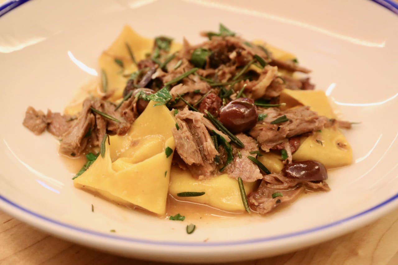Amano Pasta: Pope's Hat Tortelloni with mascarpone filling, roasted lamb, olives, fried rosemary