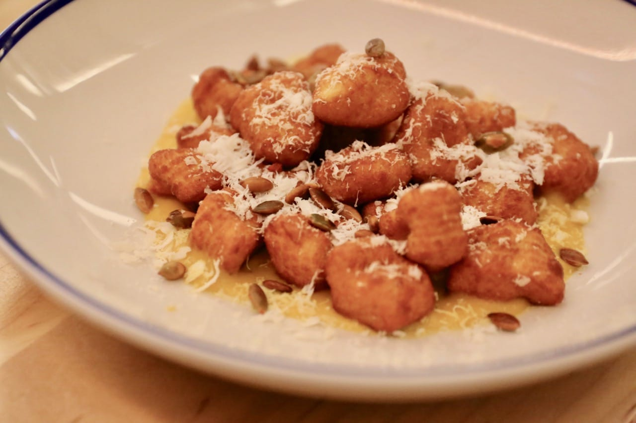 Amano Pasta: Crispy Dumplings Gnocchi with squash puree, toasted pumpkin seeds, ricotta salata