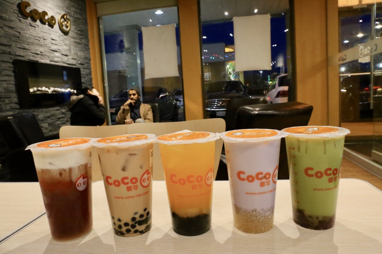 A choir of bubble tea at Coco Fresh Tea in Kennedy Square.