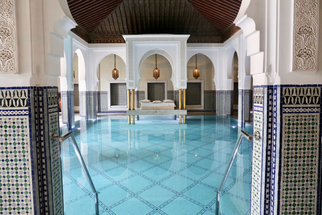 The floating bed at La Mamounia's spa pool is the most photographed at the resort.