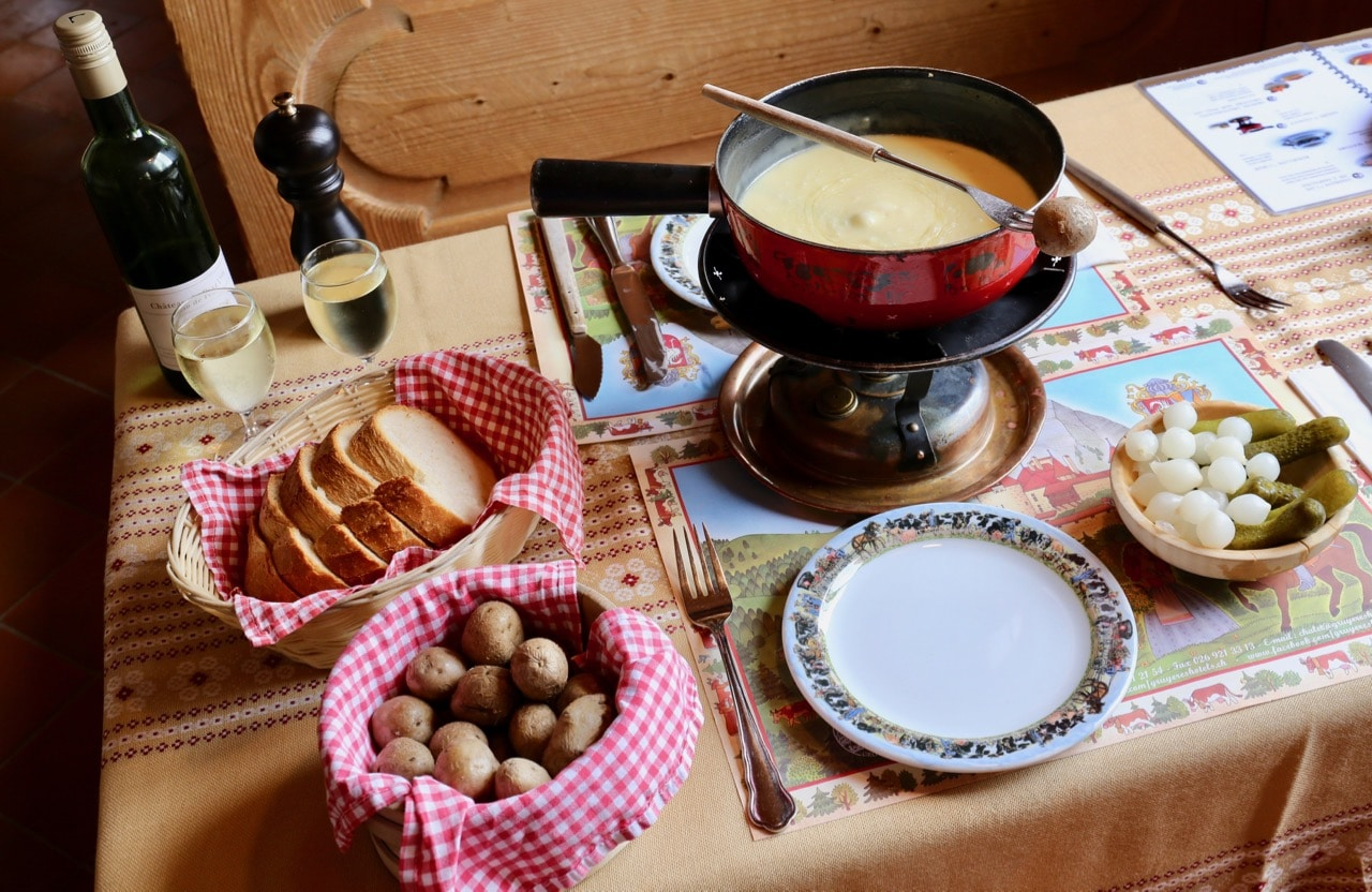 Gruyere cheese fondue is the most traditional Swiss food.