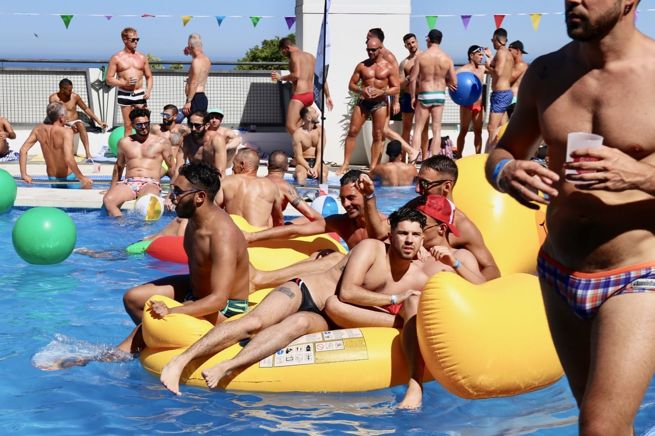A gay pool party in Malaga at Hotel Ritual in Torremolinos.