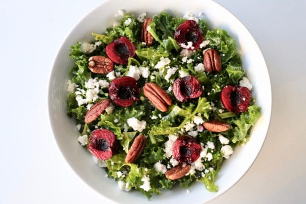 Cherry Pecan Kale Salad with Honey Lime Vinaigrette