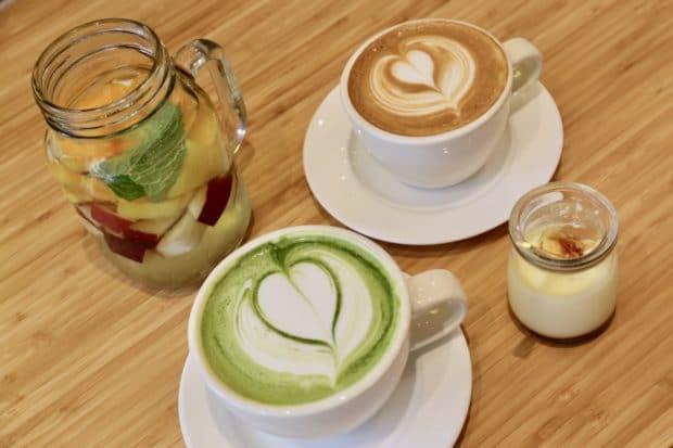 Latte's and Fuwa Fuwa fruit water.