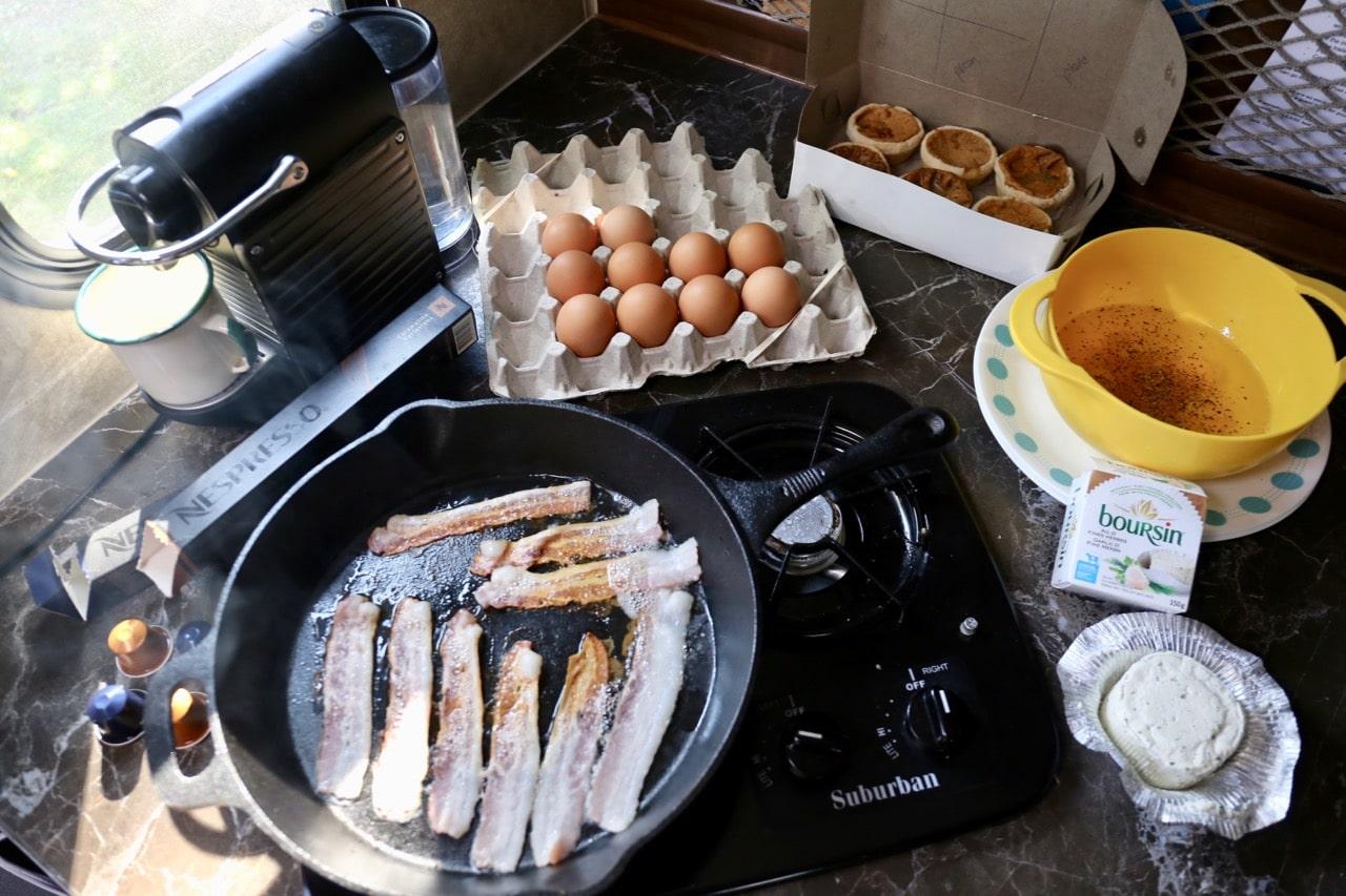 Wasaga Beach Camping: preparing breakfast in an RV.