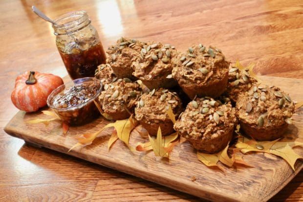 Freshly baked Pumpkin Spice Muffins served with cinnamon apple jelly.