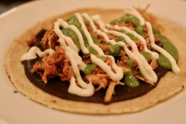 Campechano Toronto: Tinga de Pollo Taco featuring chicken breast stewed in morita