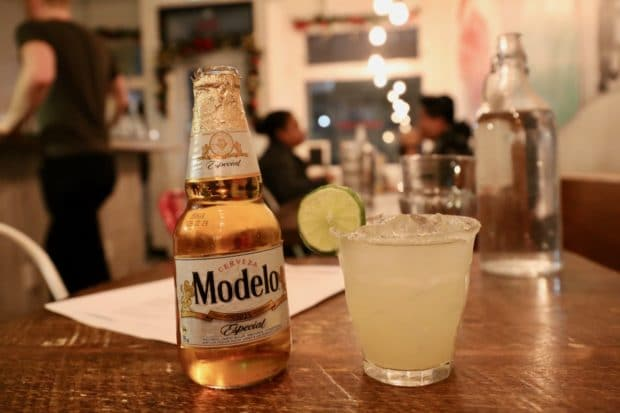 Mexican beer and margaritas at Campechano Toronto.