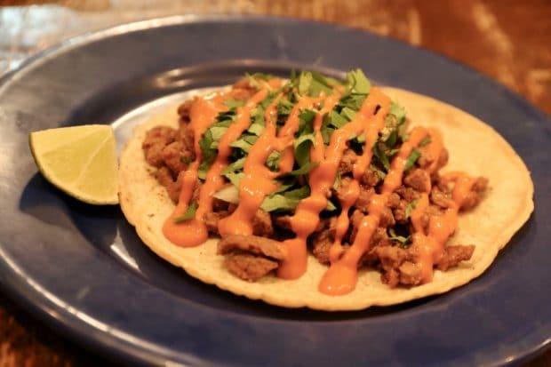 Campechano Toronto: Bistec Enchilado Taco with pasilla adobo, top sirloin, salsa morita