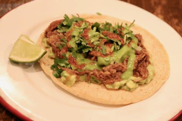 Campechano Toronto: Costillita Taco with arbol braised beef rib, avocado, salsa macha