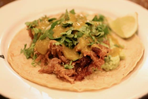 Campechano Toronto: Carnitas Taco with confit pork shoulder, avocado, salsa verde