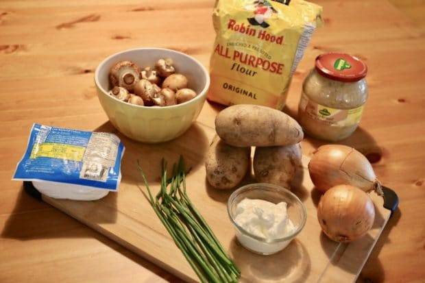 Ingredients you'll need to prepare homemade pierogies.