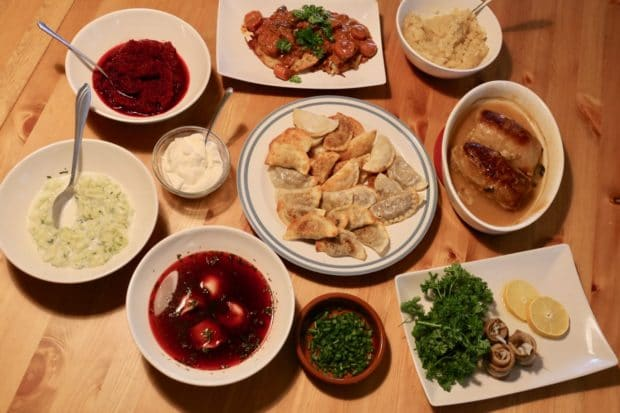 Homemade pierogies served during a classic Polish feast.