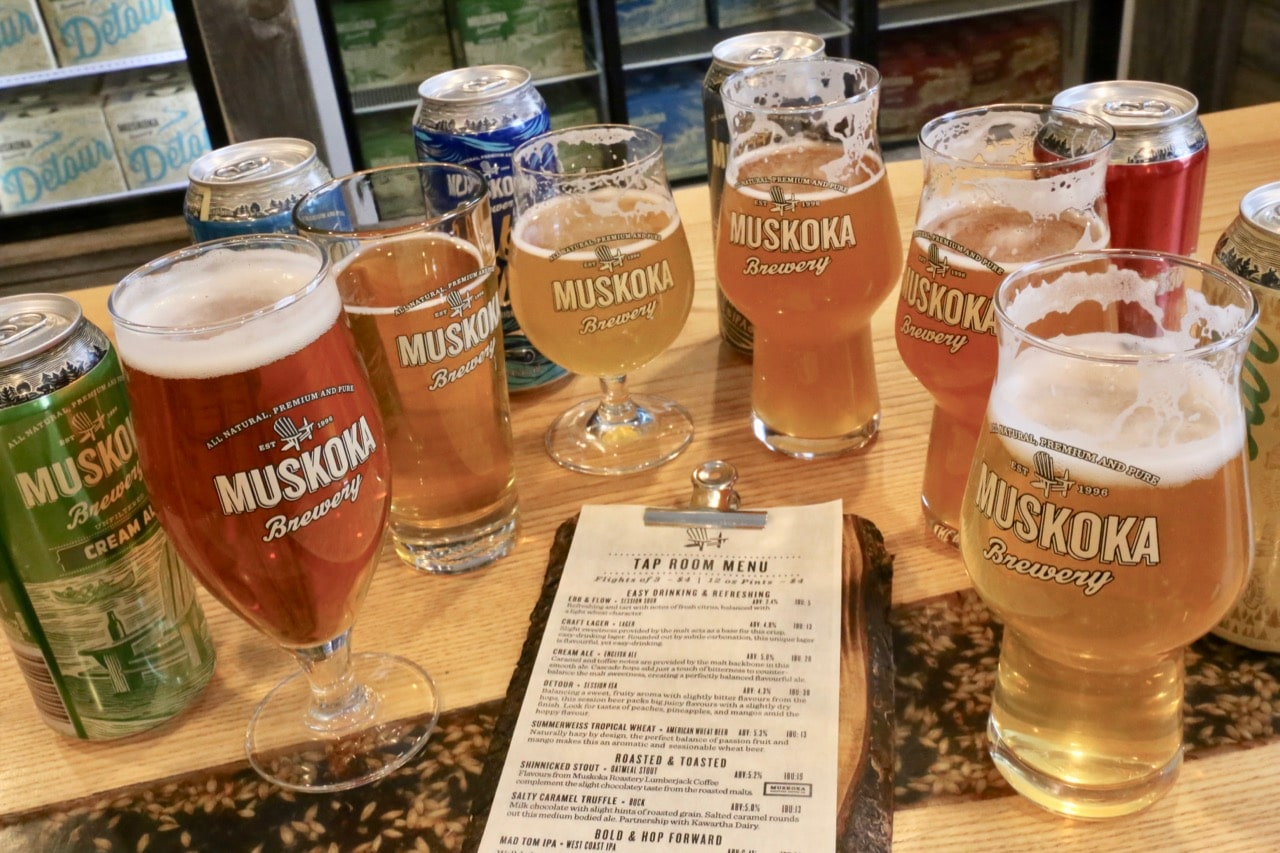 Enjoy a craft beer tasting and tour at Muskoka Brewery in Bracebridge.