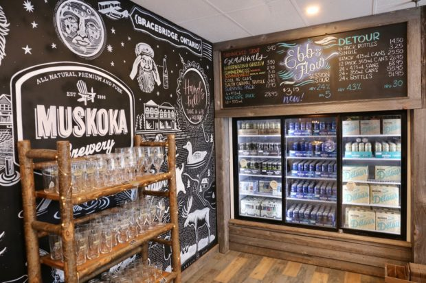 The bottle shop at Muskoka Brewery.