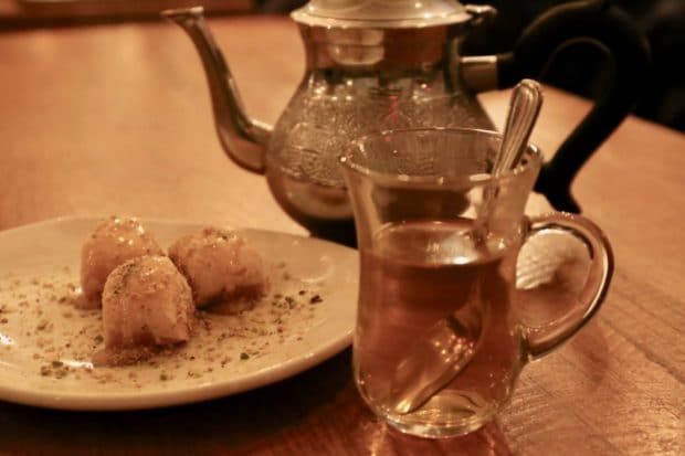 Moroccan mint tea and baklava at Tabule Toronto.