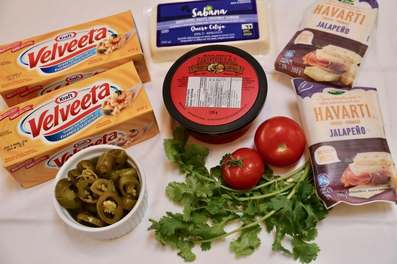 Velveeta Cheese Dip ingredients.