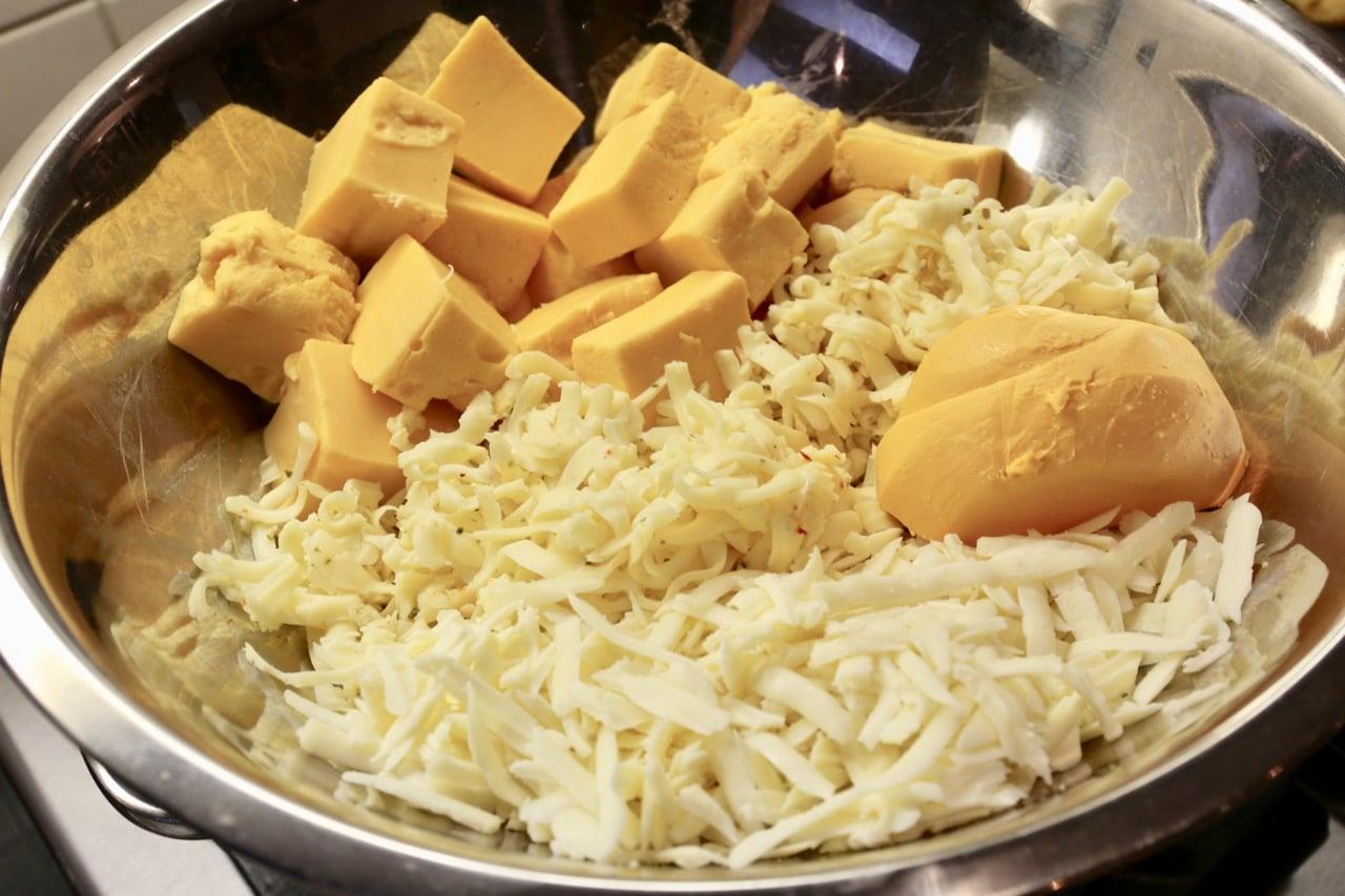 Velveeta Cheese Dip ingredients heating over a double boiler.