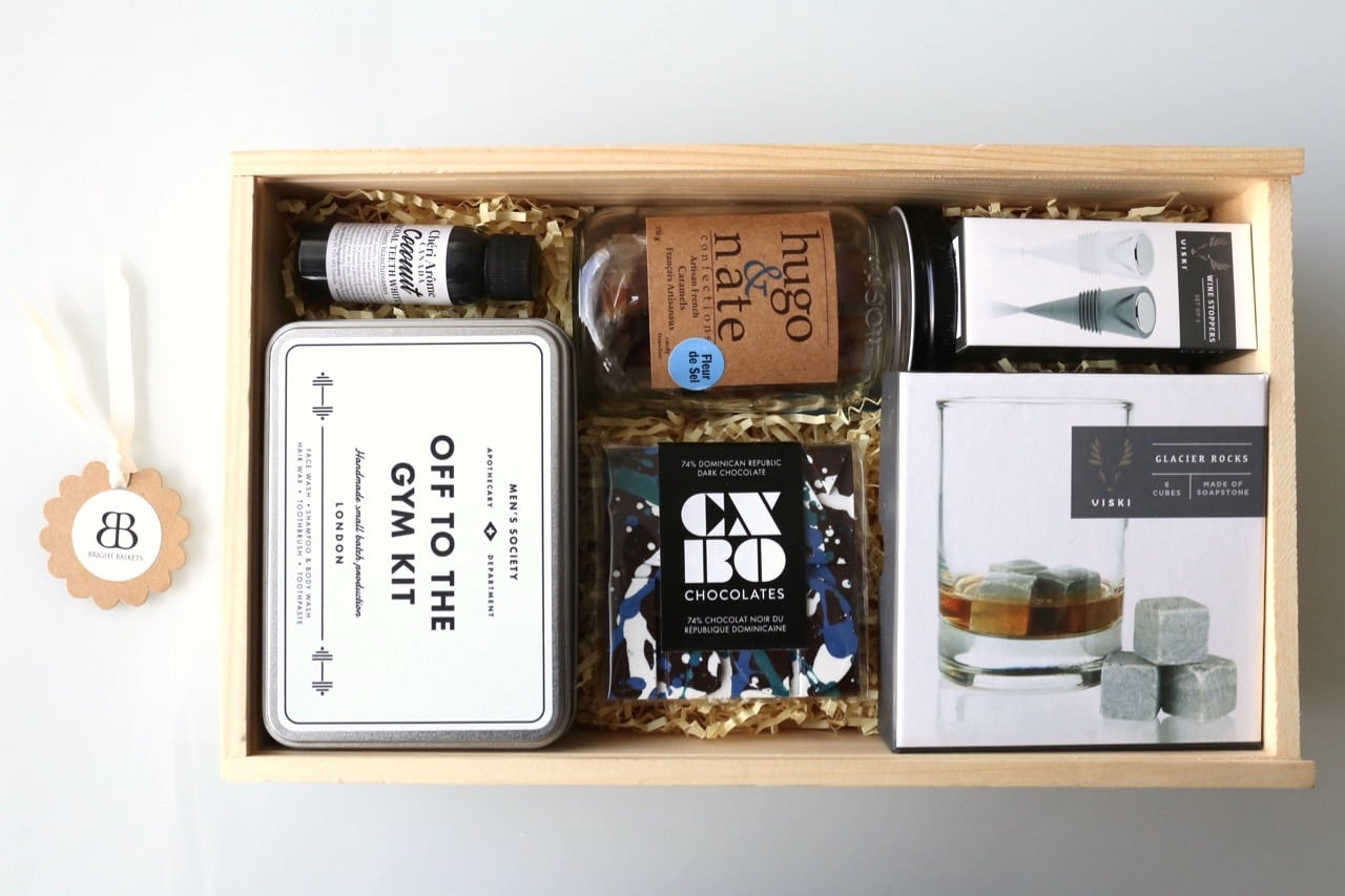 Toronto's Bright Baskets specializes in gift baskets for men.