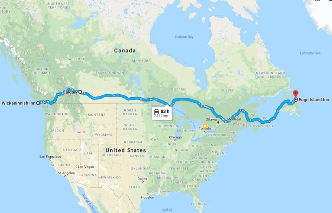 Canadian Road Trip Map