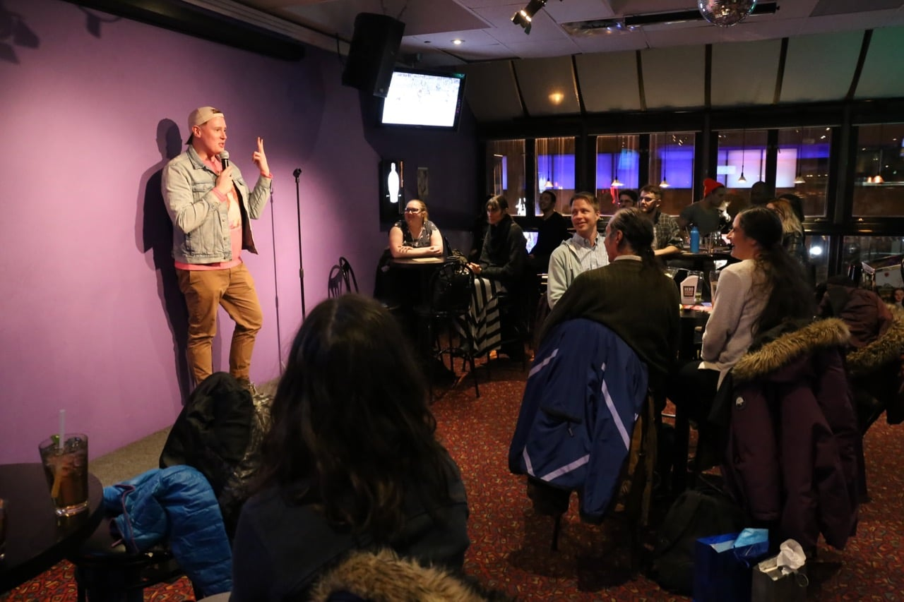 Toronto stand-up comic Andrew Johnston hosts Queer & Present Danger Open Mic at Pegasus on Church.