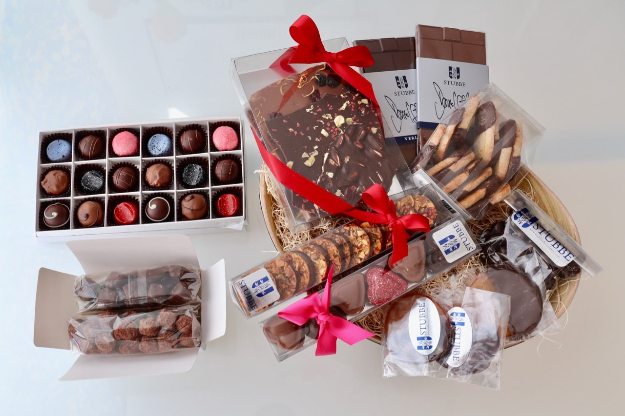 Chocolate gift basket by Toronto's Stubbe Chocolates