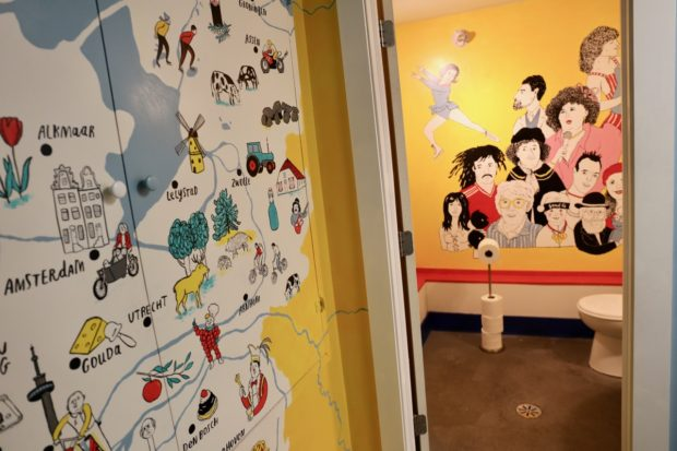 Cute illustrated murals inspired by Holland in Borrel Restaurant's basement.