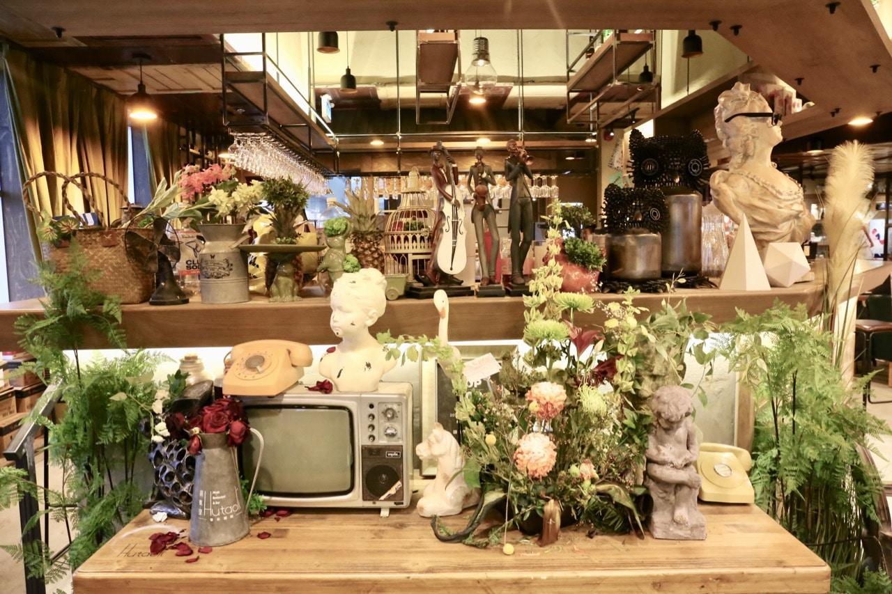 Whimsical vintage garden interior design at Hutaoli Toronto.