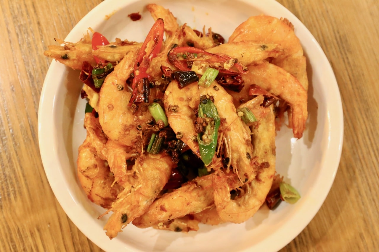 Spicy Stir-fried Shrimp is a popular dish on the Hutaoli Toronto menu.