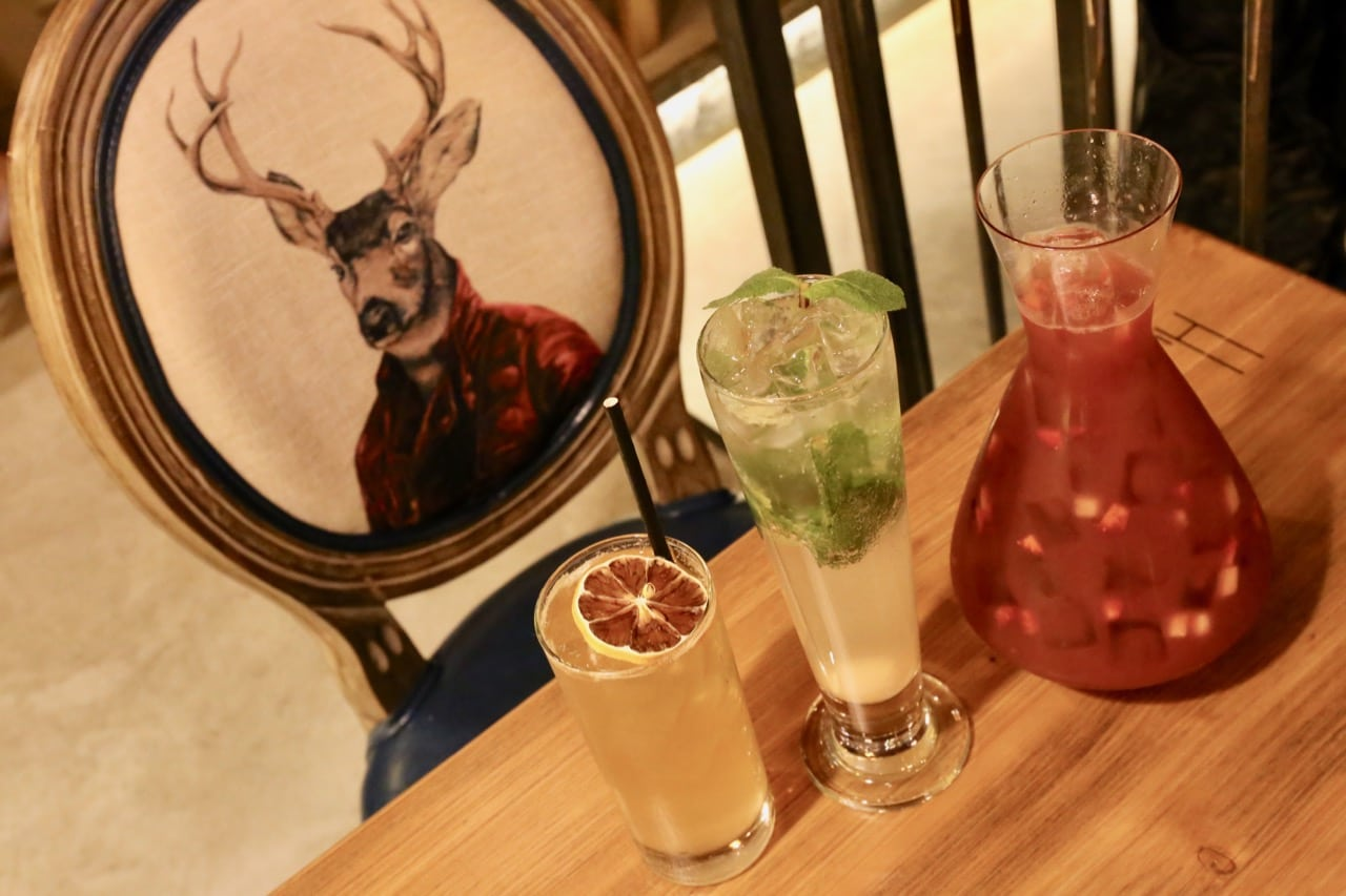 A jug of sangria and Asian tropical fruit inspired craft cocktails at Hutaoli Markham.