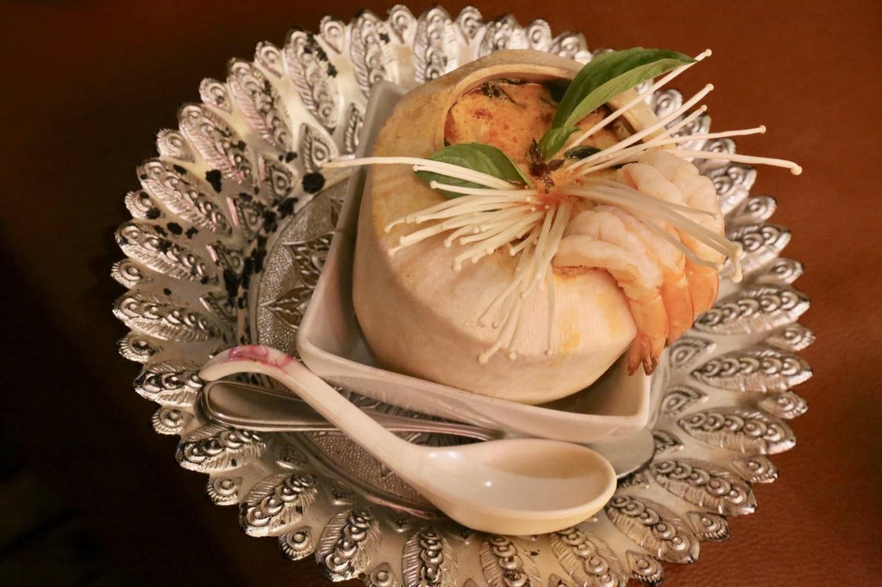 Royal Lemongrass Coconut Soup with Shrimp at Mengrai Thai Restaurant.