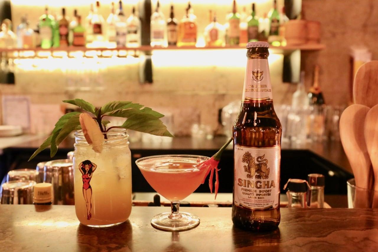 Craft cocktails and Thai beer at Sabai Sabai's bar.