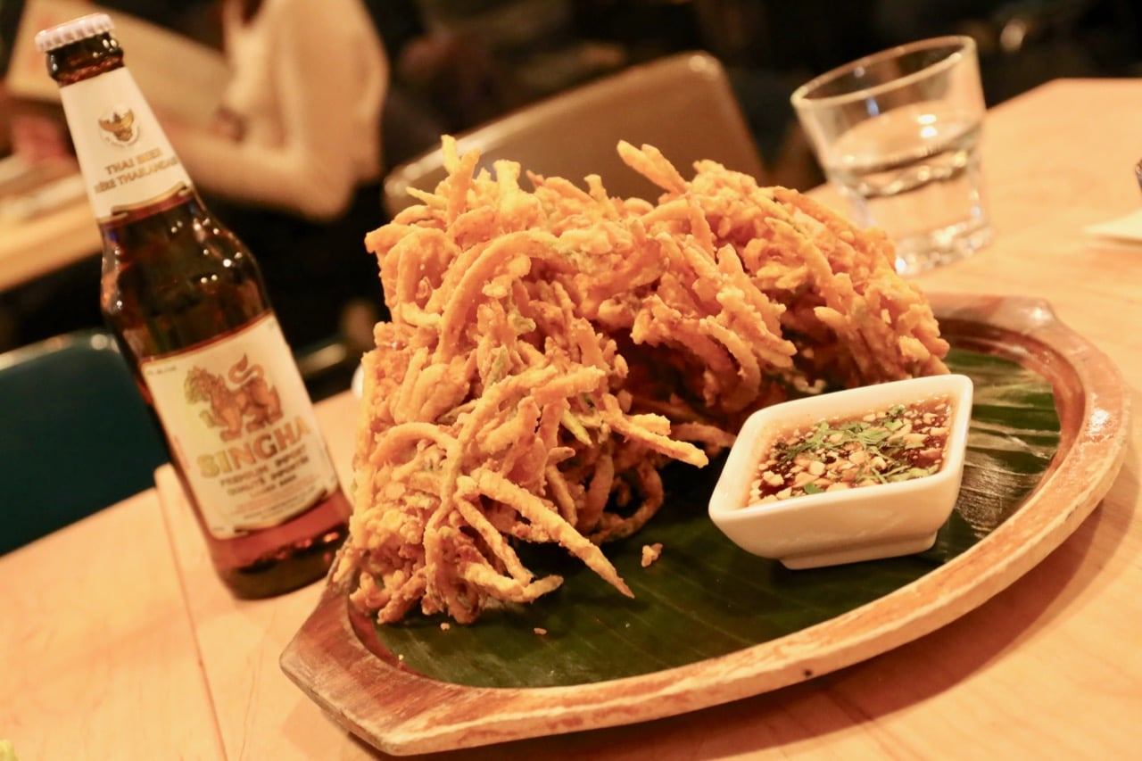 Our favourite dish at Sabai Sabai Thai restaurant in Toronto are crispy Squash Fritters.