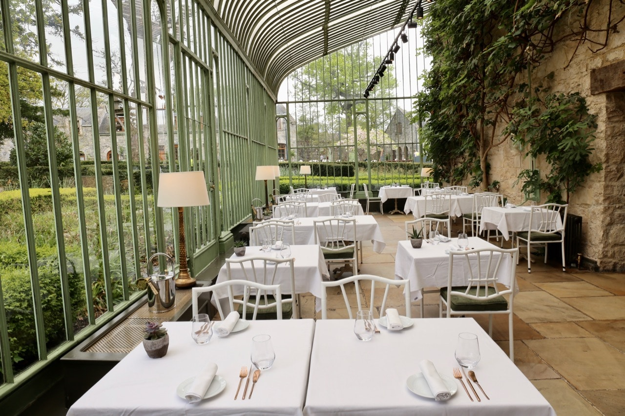 Greenhouse dining room in the Cliff at Lyons restaurant.