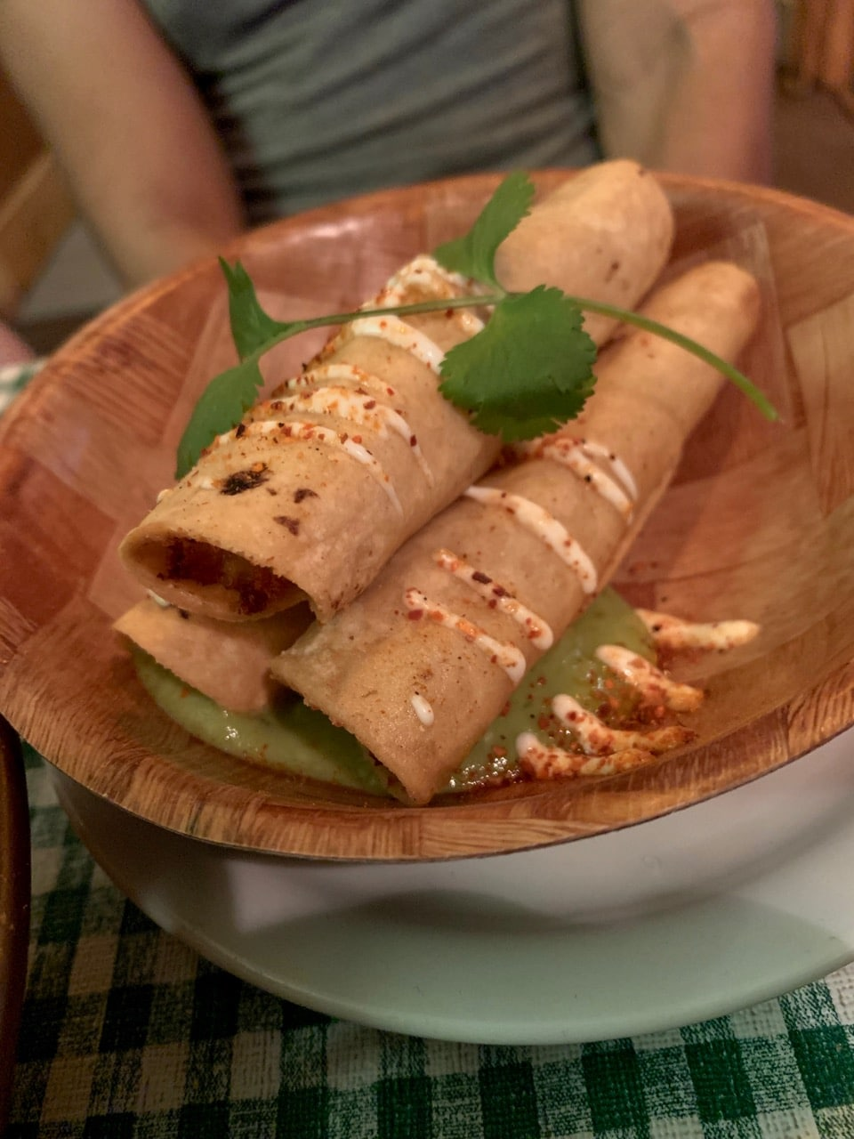 Garlic Shrimp Taquitos with Guacamole.