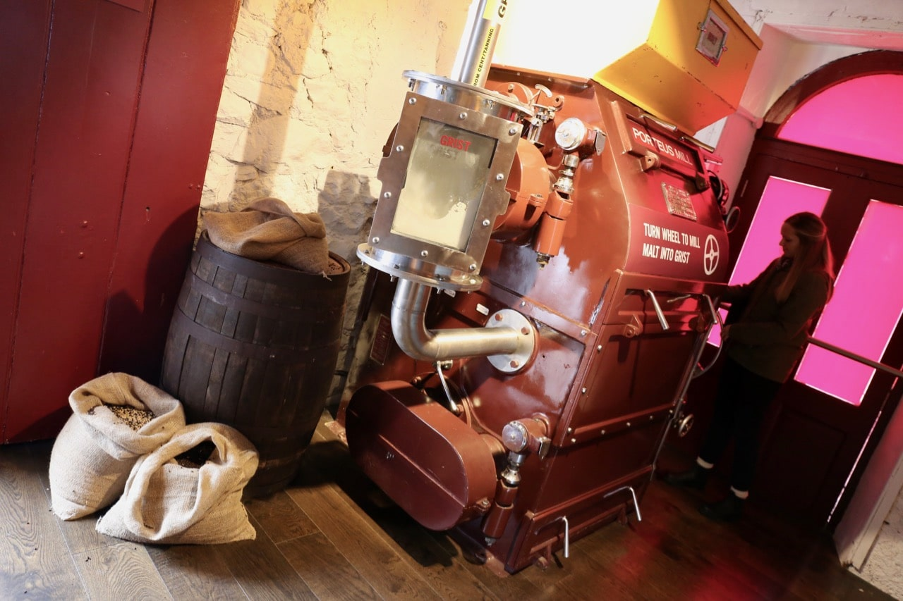 Guests can take turns spinning malt into grist.