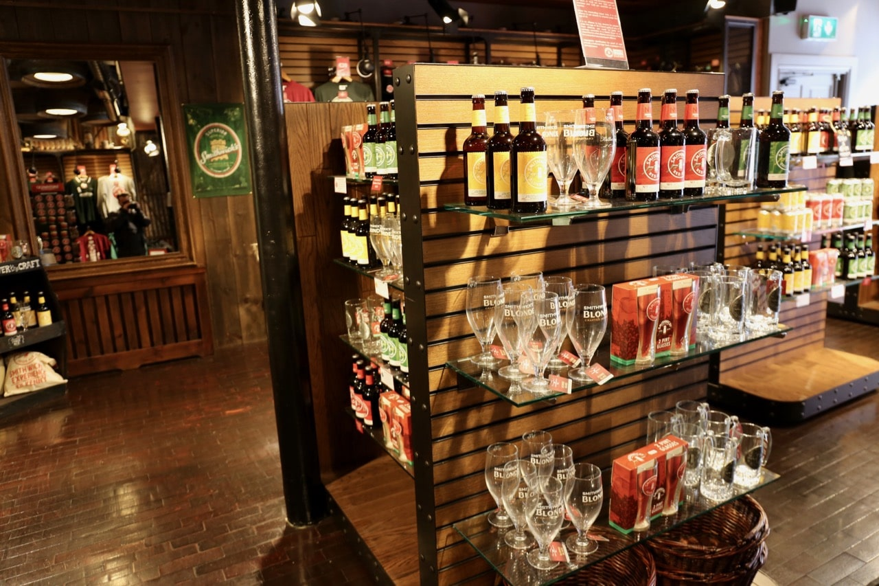 Irish beer lovers can shop for great gifts at the Smithwick's Experience retail store.