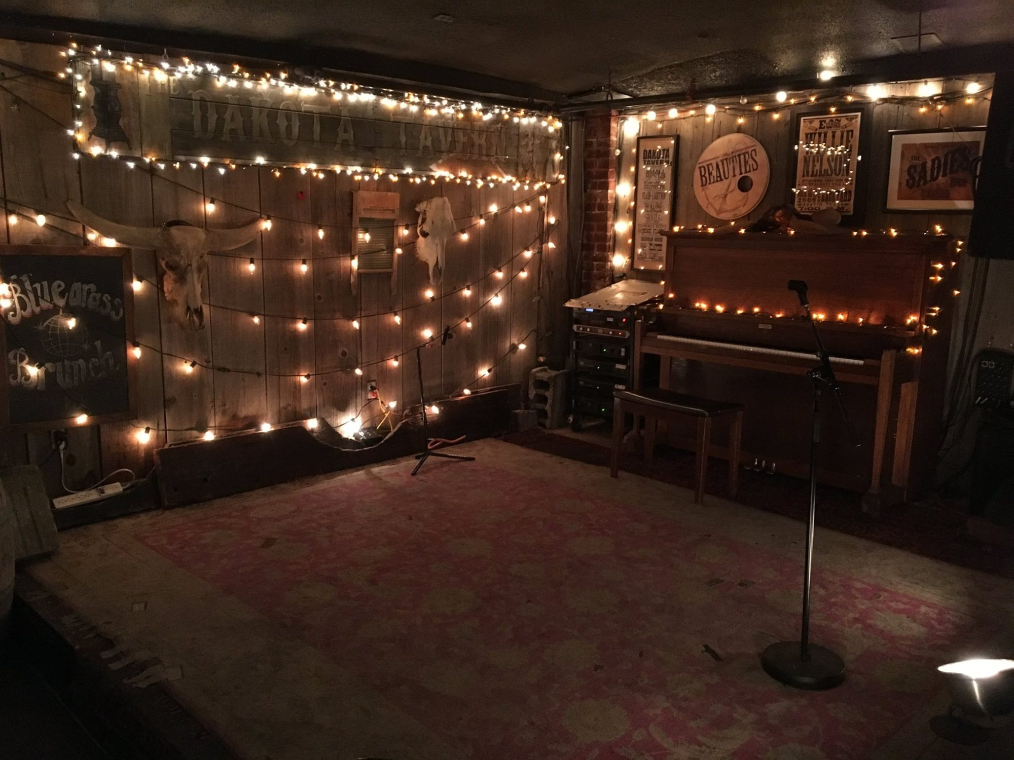 Live Music in Toronto: Magical lights decorate the stage at The Dakota Tavern.