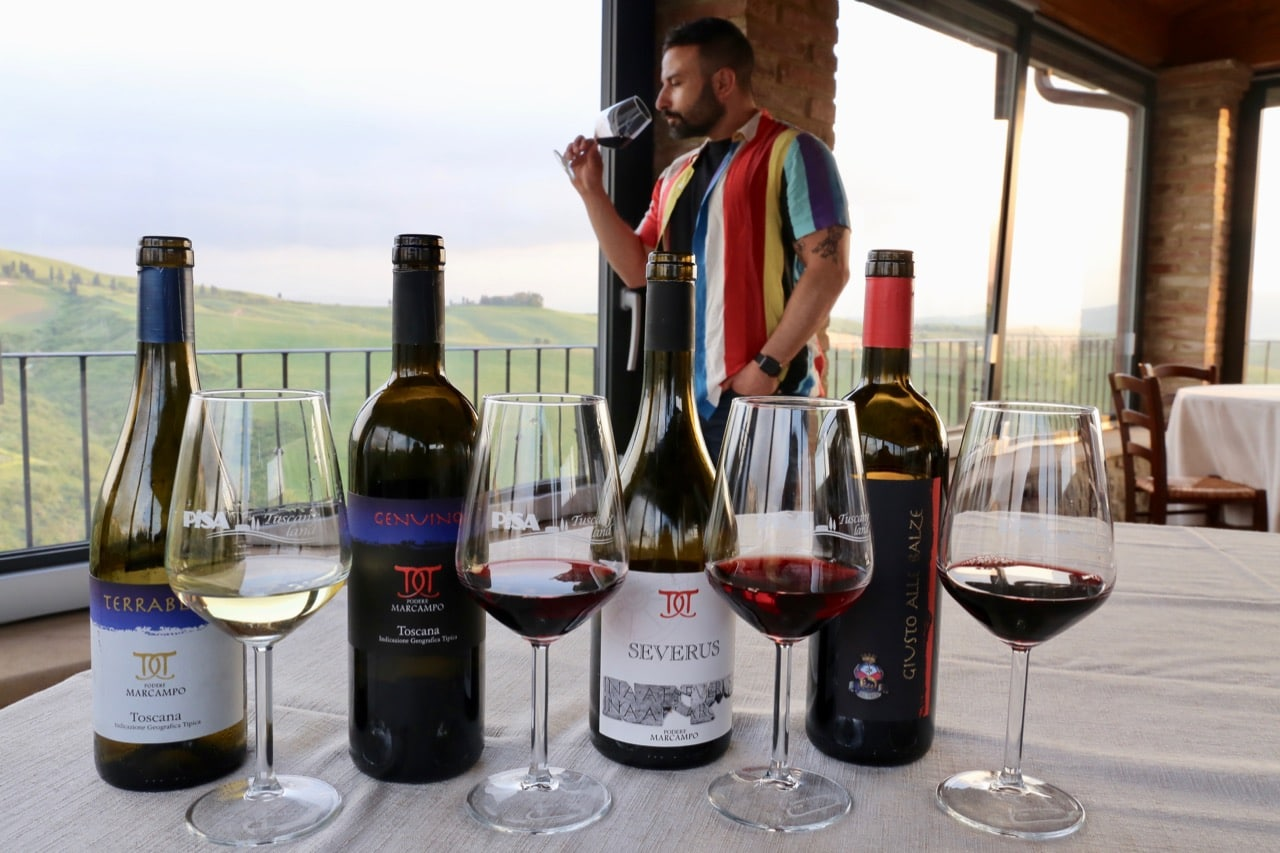 Enjoy a tasting of Podere Marcampo's award-winning Tuscan wines.