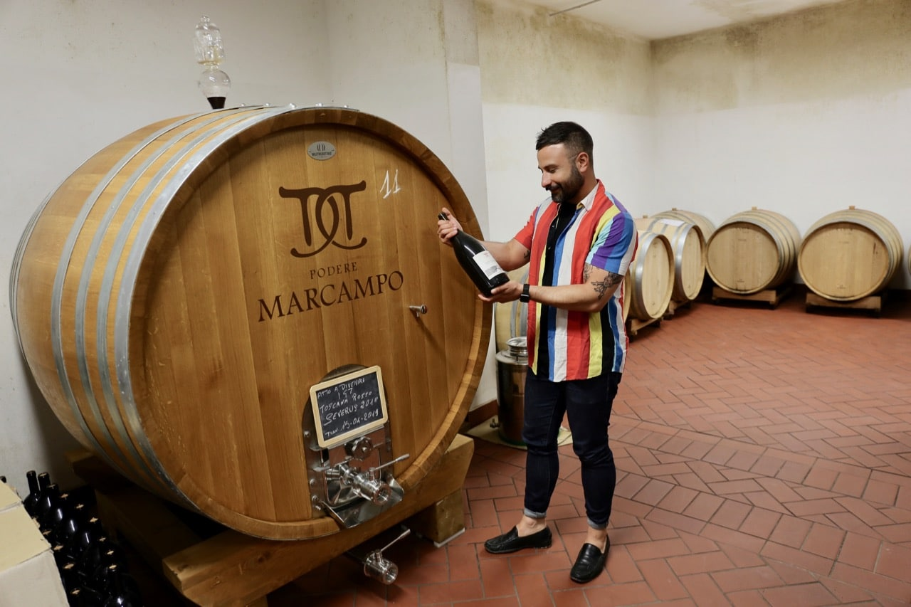 Visit the cellar on a tour of the Podere Marcampo winery in Tuscany.
