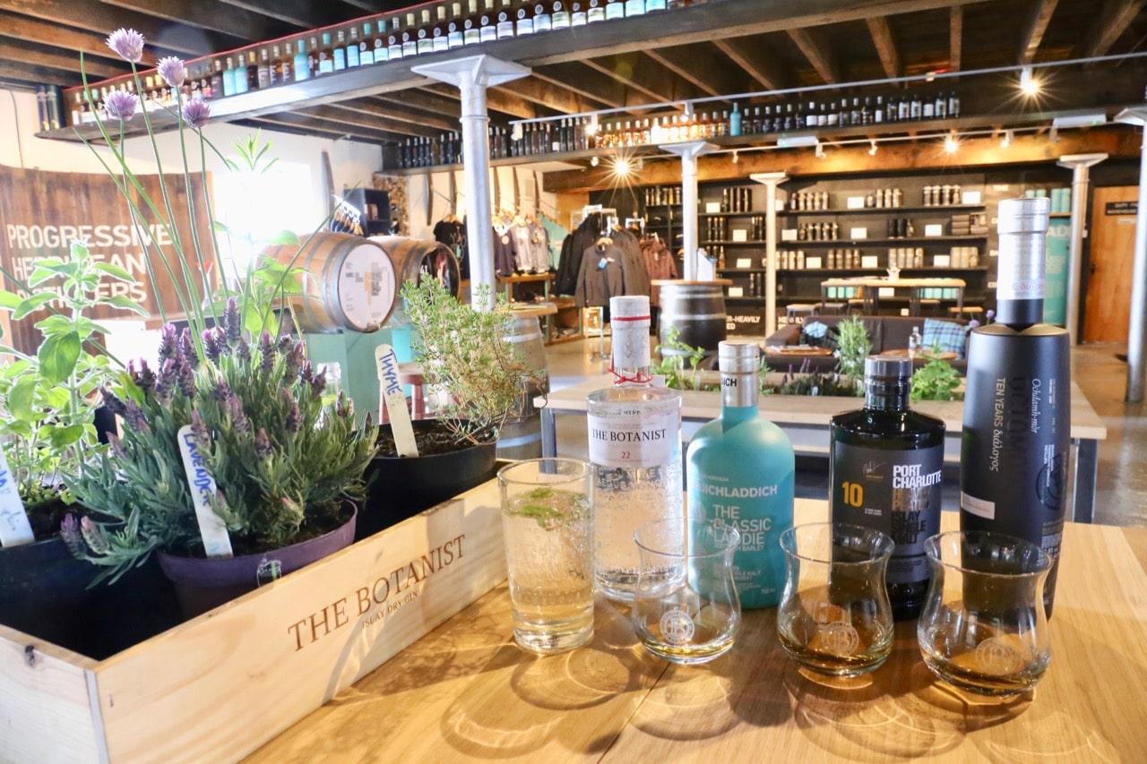 Enjoy whisky flights and muddled Botanist Gin cocktails at Bruichladdich's tasting room.