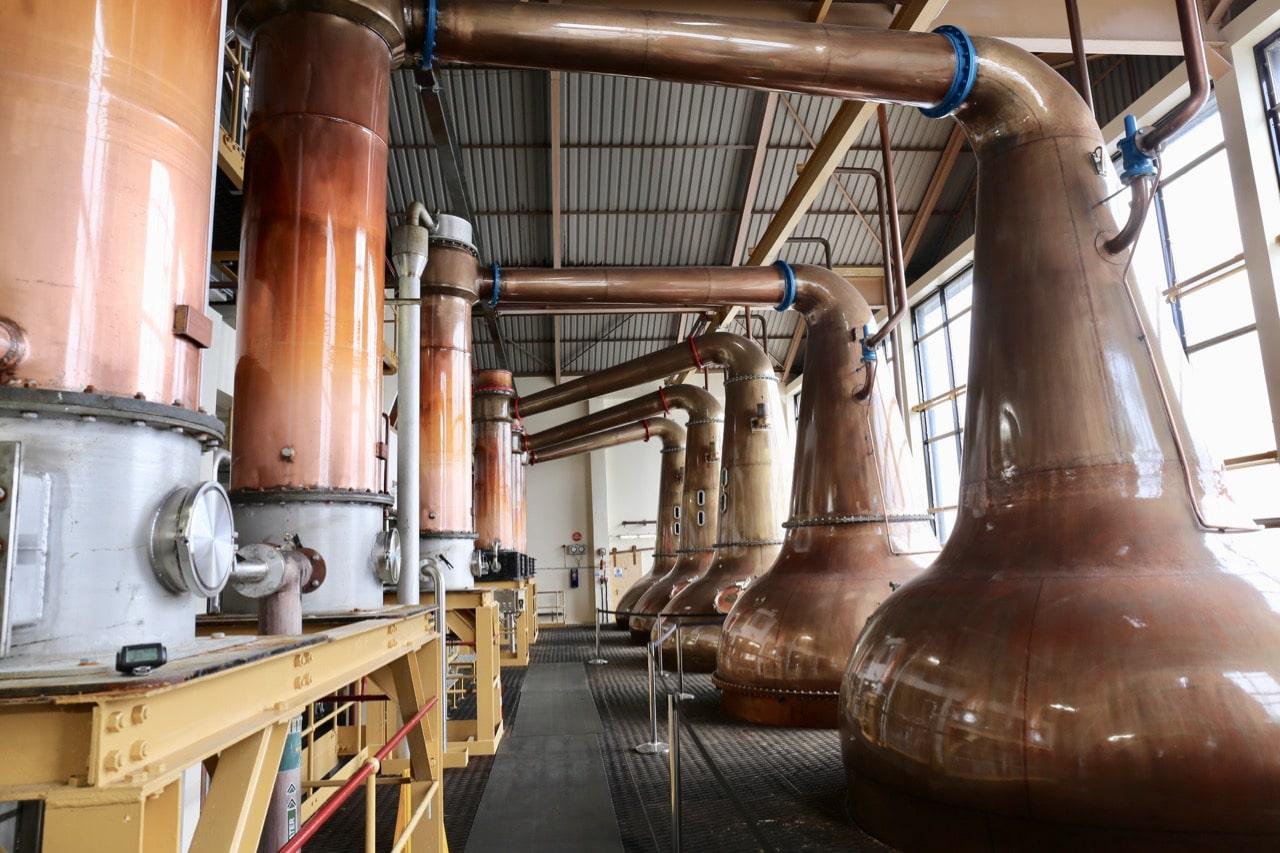 A parade of stills at Caol Ila Distillery.