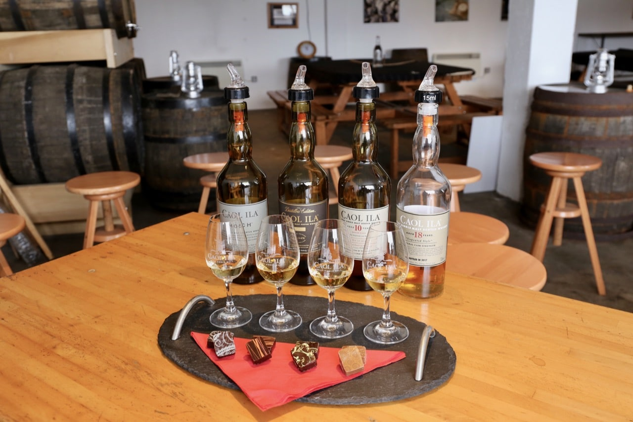 Chocolate and whisky tasting at Caol Ila Distillery.