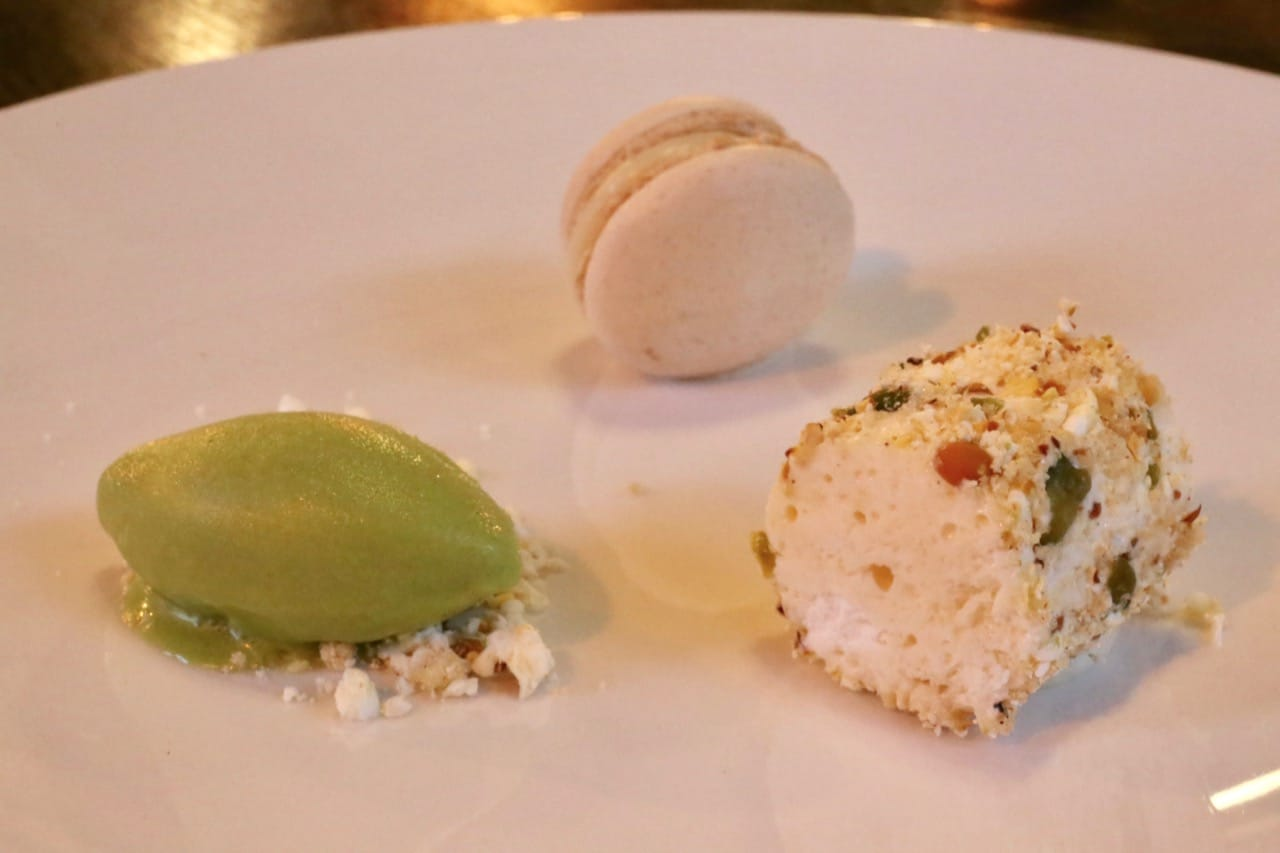 Lemon Chiboust with Lemon Thyme Macaron and Orbost Herb Sorbet