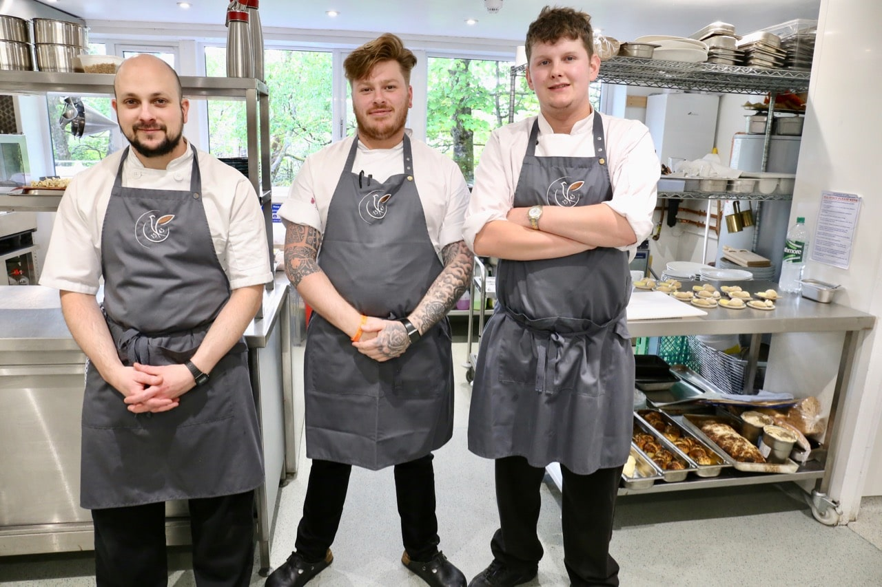 Edinbane Lodge Head Chef Calum Montgomery, Chef de Partie Miguel Angel Mialdea and Andrew Richards.
