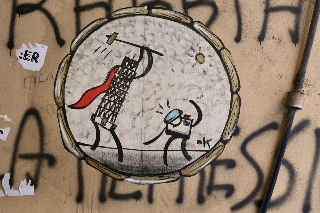 Humorous artwork by local graffiti artist Exit Enter.