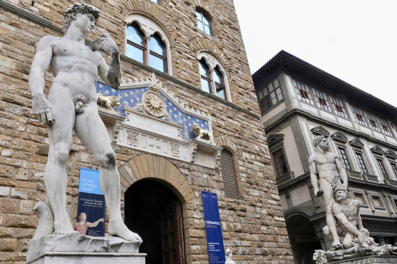 Make a stop at The David outside Palazzo Veccchio on your Florence in a day itinerary.