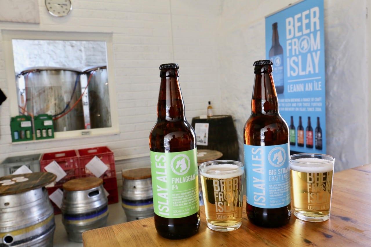 Beer aficionados enjoy sips at Islay Ales, the island's only craft brewery.